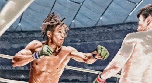伸び伸びと戦うベイノア選手と攻めあぐねる弥益選手